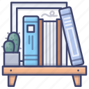 bookcase, books, bookshelf, shelf icon