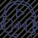 headphones, education, lesson, audio icon