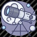 astronomy, education, moon, telescope icon