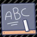 alphabet, blackboard, education, language