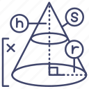 solid, geometry, cone, education icon