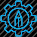 gear, pencil, setting icon