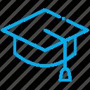 degree, graduation, hat icon