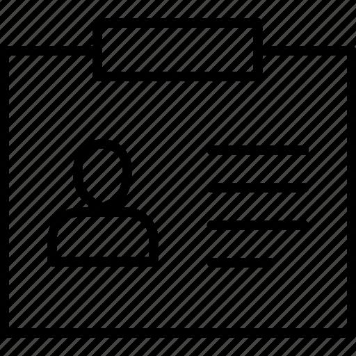 clip, id, identification, nametag, pass, profile, tag icon