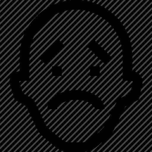 avatar, face, profile, sad, school, student, teach icon