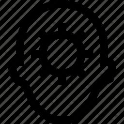 avatar, cog wheel, face, fix, gear, profile, solve icon