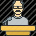 podium, professor, teacher