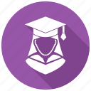 female, graduation, student icon