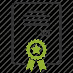 certificate, diploma, lisense, patent icon
