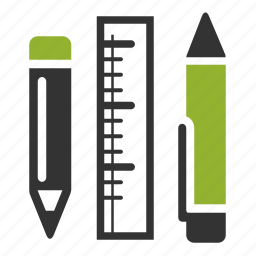 pen, pencil, rule, supplies icon
