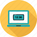 clock, computer, laptop, notebook, pc, screen icon