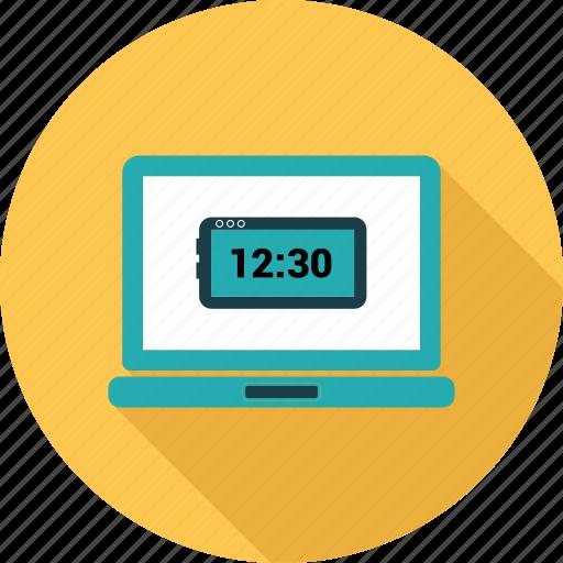 clock, computer, laptop, notebook, pc, screen icon