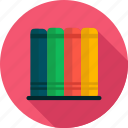 book, bookshelf, education, knowledge, study icon