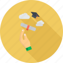 certificate, degree, diploma, education, graduate, graduation, hand icon