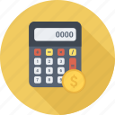 calc, calculate, calculator, coin, dollar, math icon