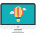 air balloon, display, monitor, screen, tv icon