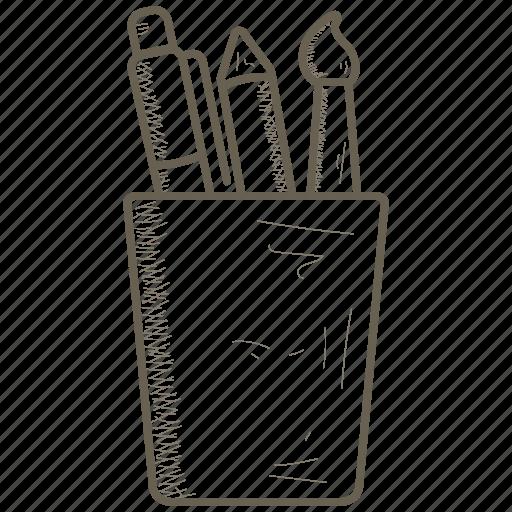 box, holder, pen, pencil, pot icon