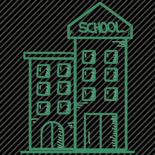 building, chime, school icon