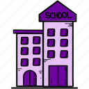 building, chime, school icon