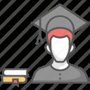 graduate, graduation, postgraduate, scholar, student icon icon