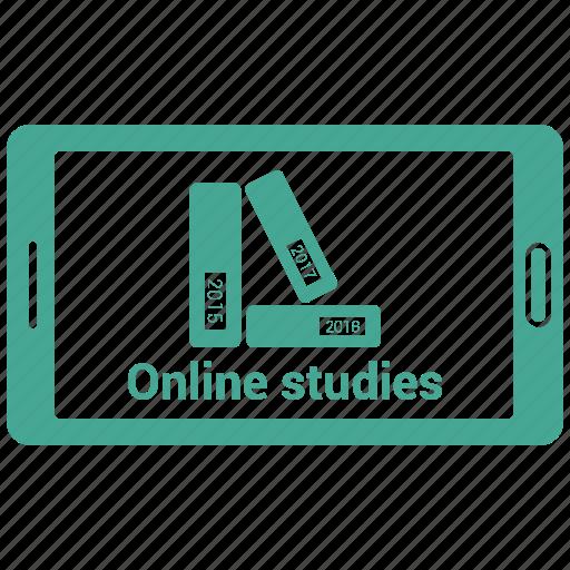 books, mobile, online, reading, study icon