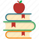 apple, book, knowledge, noterbook, red, school icon