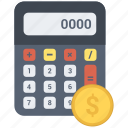 calc, calculate, calculator, coin, dollar, math, technology icon