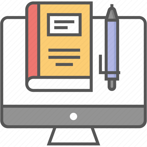 digital library, ebook, elearning, online education, online learning icon icon