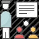 classroom, lecture, presentation, students, teacher icon icon