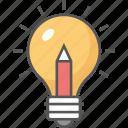 bright ideas, bulb pencil, ideas inspiration, innovation, splash pencil icon icon