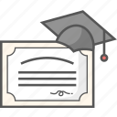 certificate, degree, diploma, licence, school certificate icon icon