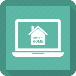 laptop, online house purchase, sweet home icon