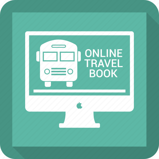 airplane, booking, bus, online, online travel book icon