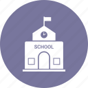 architecture, building, school, school building icon