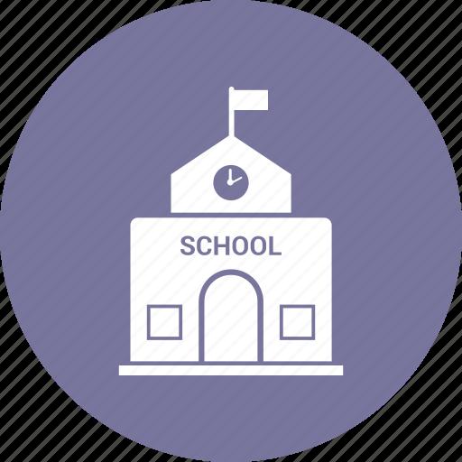 architecture, building, school, school building icon