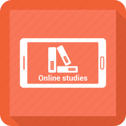 book, cell phone, mobile, online study, phone i icon