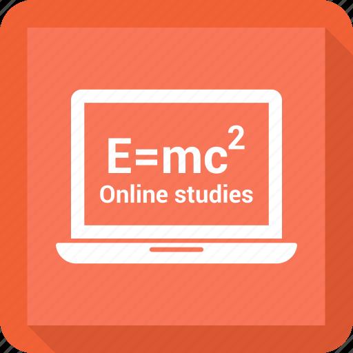 computer, device, e=mc, internet, laptop, online study, portable icon