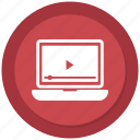 laptop, media, play, video, youtube icon