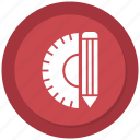 angle, pencil, ruler, tools icon