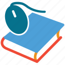 book, computer mouse, mouse, mouse on book icon
