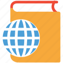 book, ebook, globe, online library icon