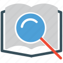 book, magnifier, open book, search icon
