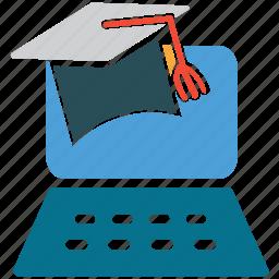 graduation, online education, online graduation, online study icon