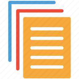 documents, notes, papers flow, text pages icon