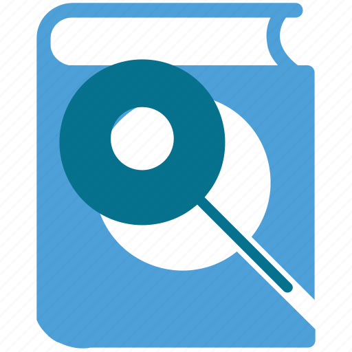 book, book searching, finding book, magnifier icon