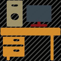 pc, personal computer, study corner, study table icon