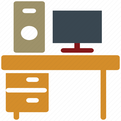 pc, personal computer, study corner, study table icon