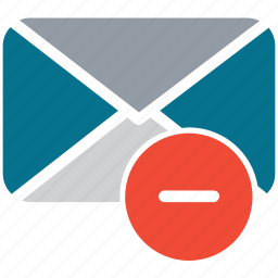 envelope, mail, minus sign, remove message icon