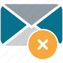 cross sign, delete mail, envelope, mail icon