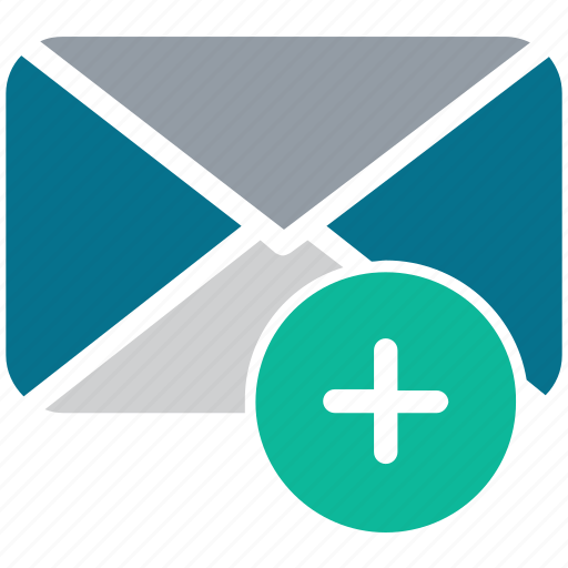 add sign, envelope, mail, new mail icon